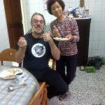 Con 張秀雲 durante el desayuno